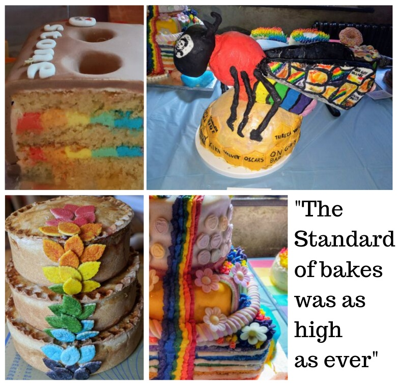 Clockwise from top left: Toby's Stonewall Celebration Brick Cake, Lea's LGBT Community Honey Bee Cake, Tom's Tiered Layered Veggie Picnic Pie, Sam's Rainbow Cake and a quote from Howard Middleton who said The standard of bakes was high as ever
